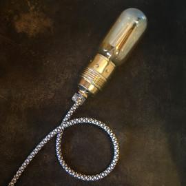 cable electrique fil textile vintage tissu croisillon chanvre et graphite rond
