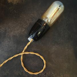 cable electrique fil textile vintage tissu jaune vieil or doré torsadé lampe luminaire