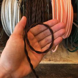 cable electrique fil textile vintage tissu marron torsadé lampe luminaire style ancien