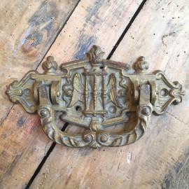 poignée sablier aile mortuaire cercueil eglise porte métallique métal ancienne vintage 1900 religieux