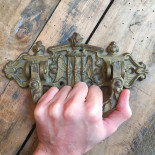 hourglass door knob handle coffin church wings decor 1900 antique vintage metal metallic