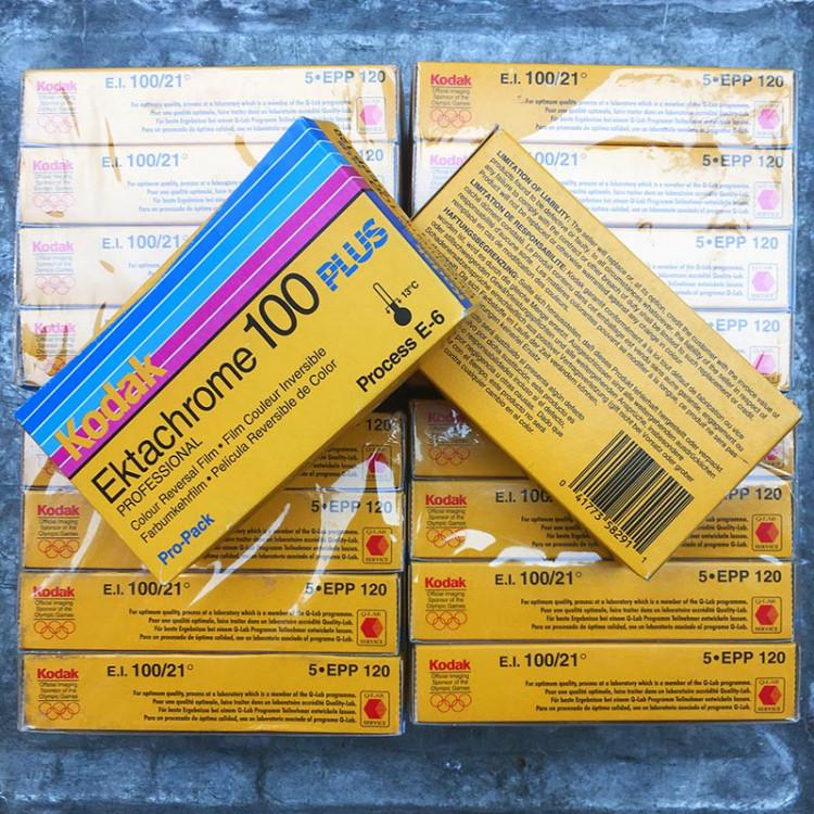 pack 5 ektachrome kodak 100 EPP Plus diapo positif pellicule 120 argentique moyen format e6 photographie 2004 périmée