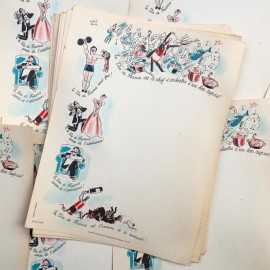 menu ancien en papier illustré illustration hervé baille comité en faveur du vin france 1960