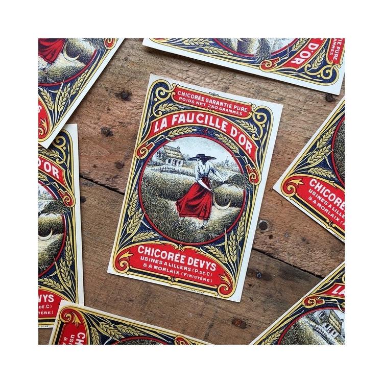 étiquette ancienne de chicorée vintage à la faucille or 1920 1930