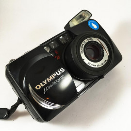 olympus mju zoom 130 black compact point and shoot 38mm 130mm analog 135 1997