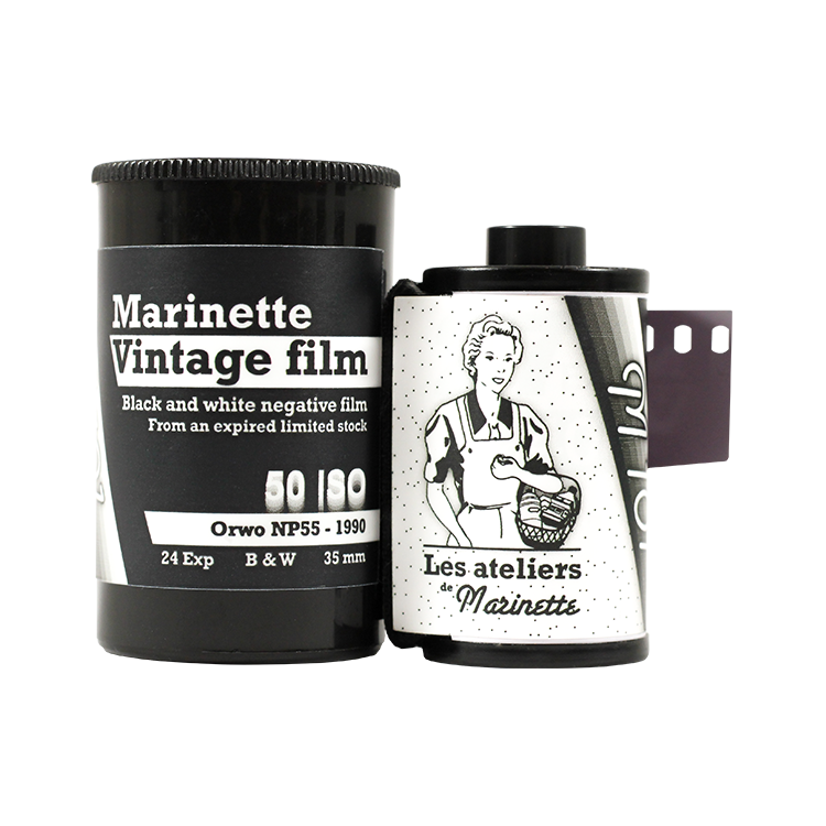 Marinette Vintage Film 50 Iso 25 Iso Expired Film Antique Orwo NP55 Old analog film grain black and white 1990