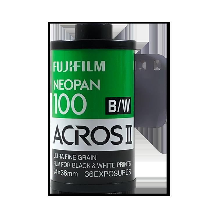 fujifilm fuji acros II neopan 100 iso 36 exposures exp 35mm 135 film black and white photo