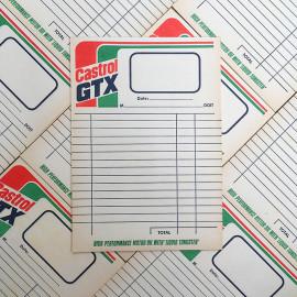 facture facturette bloc note castrol gtx garage vintage 1960 1970