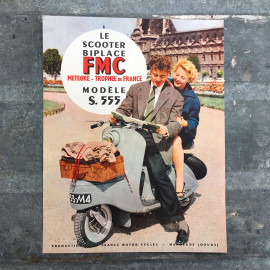 leaflet advertising scooter biplace FMC french moto bike motobike vintage 1950 1954 garage