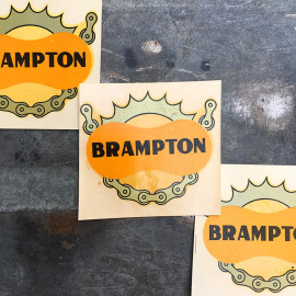 water transfer chain brampton sticker garage  antique old vintage 1950 1960 bike moto motobike cycle