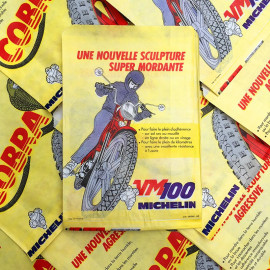 sachet emballage michelin cobra pneu moto 1970 ancien vintage vm100 chambre air illustration