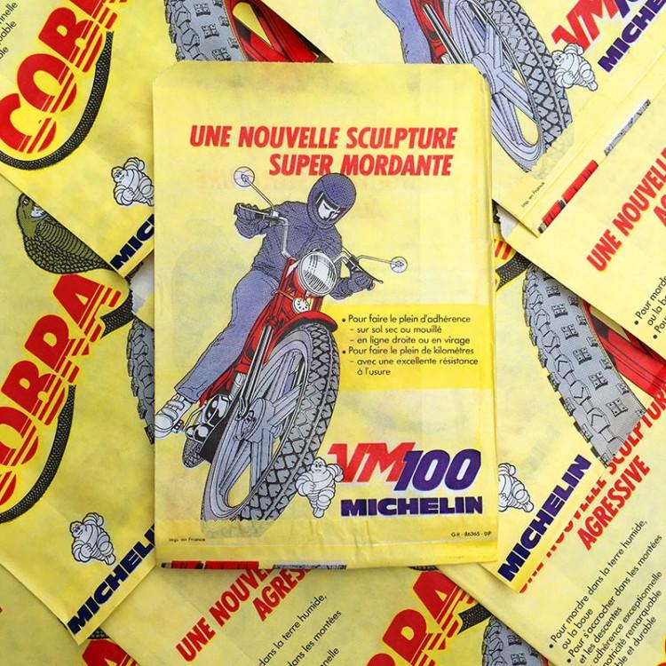 sachet emballage michelin cobra pneu moto 1970 ancien vintage vm100 chambre air illustration