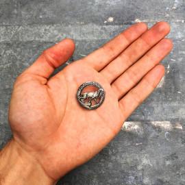 broche peugeot cycles motos ancienne métallique petit ronde lion aluminium moto 1920 1930 garage vintage