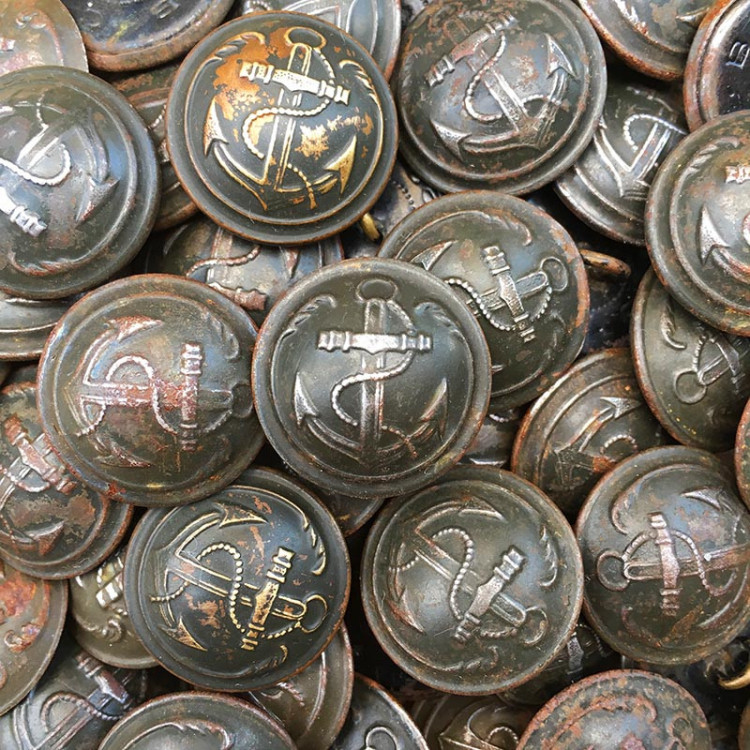 French Marine Anchor Button antique 23mm SBC Paris vintage old buttons military militaria