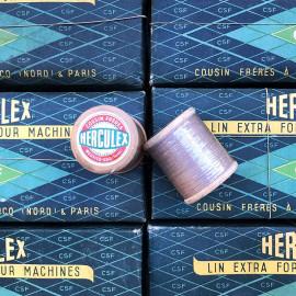 bobine de lin Herculex Cousin Frères cordonnier bois ancien vintage mercerie 1950 1960 filature ancienne