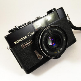 konica c35 automatic black hexanon 38mm 2.8 compact rangefinder