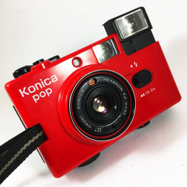 konica pop hexanon 36mm 4 compact point and shoot antique vintage 1982 flash red veil
