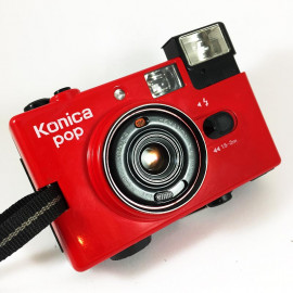 konica pop hexanon 36mm 4 compact point and shoot antique vintage 1982 flash red crack