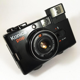 konica pop hexanon 36mm 4 compact point and shoot antique vintage 1982 flash box boxed