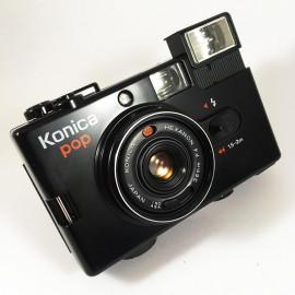 konica pop noir ancien vintage automatique hexanon 36mm 4 point and shoot flash box