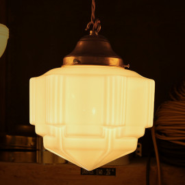 vintage art deco light charleston 1930 light lightning glass white opaline shade