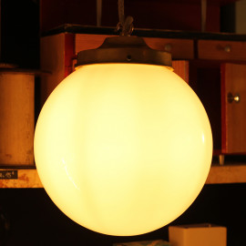 vintage art deco light school 1950 light lightning glass white opaline shade globe