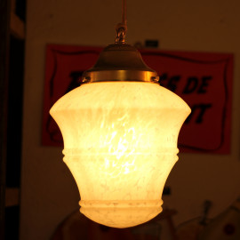vintage art deco light school 1930 light lightning glass white opaline shade mother of pearl