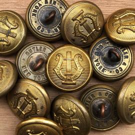 bouton ancien fanfare militaire Butler & Co New York 22mm 1930 Ancien Vintage Militaire