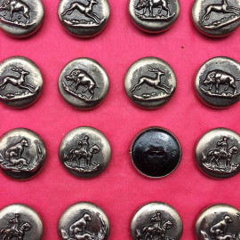 bouton ancien vènerie argent TW&W Paris 15mm 1930 Ancien Vintage chasse chasseur