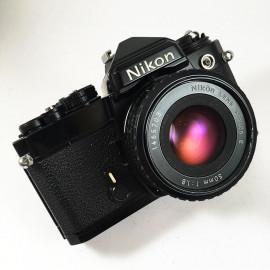 nikon fe black nikon lens series e 50mm 1.8 vintage analog camera reflex