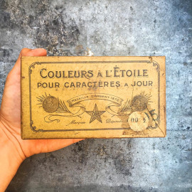 boite couleurs étoile ancien imprimerie bois encre pigments vintage 1930