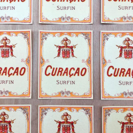 Etiquette curacao surfin 1930 boisson alcool bar brasserie bistrot cocktail