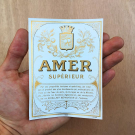 bottle vintage antique amer superieur bar 1930 design label