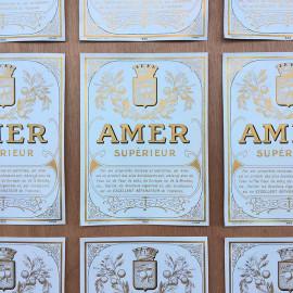 bottle vintage antique amer superieur bar 1930 design label