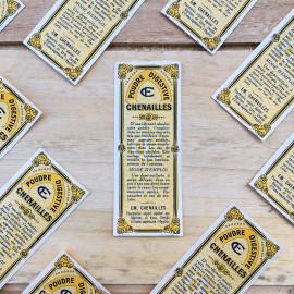Etiquette poudre digestive chenailles 1930 pharmacie hopital lyon médicament ancienne ancien