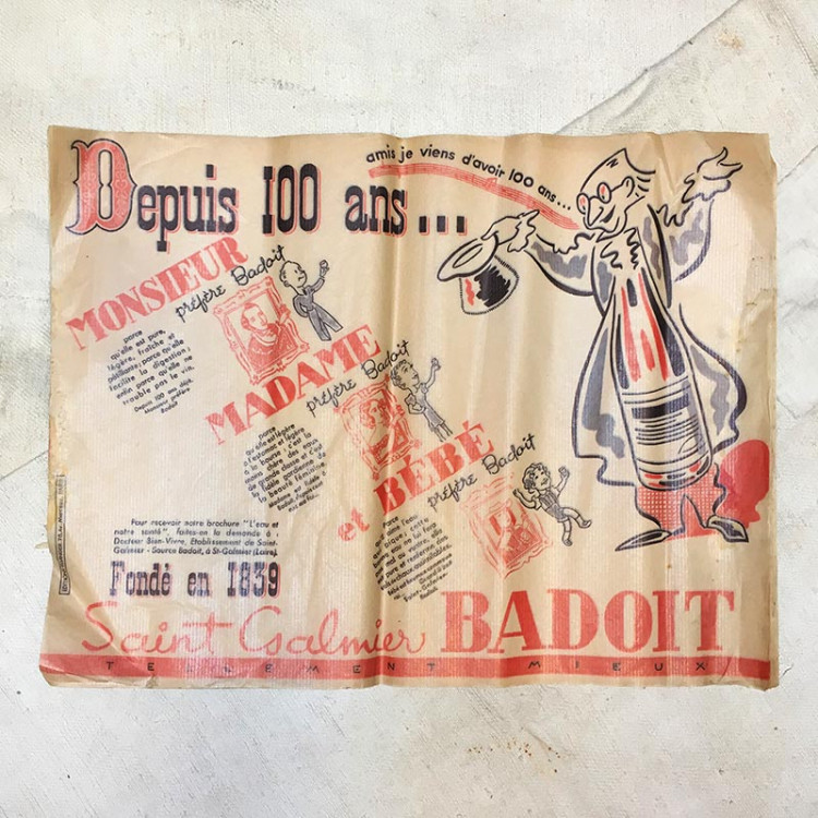 table paper advertising ad badoit water 1939 restaurant bistrot antique vintage