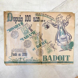 table paper advertising ad badoit water 1939 restaurant bistrot antique vintage green