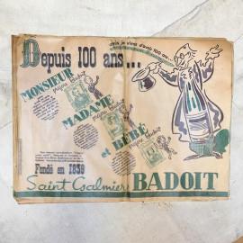 dessous de table set de table Badoit 1939 eau minerale guerre WW2 seconde guerre mondiale restaurant brasserie vert