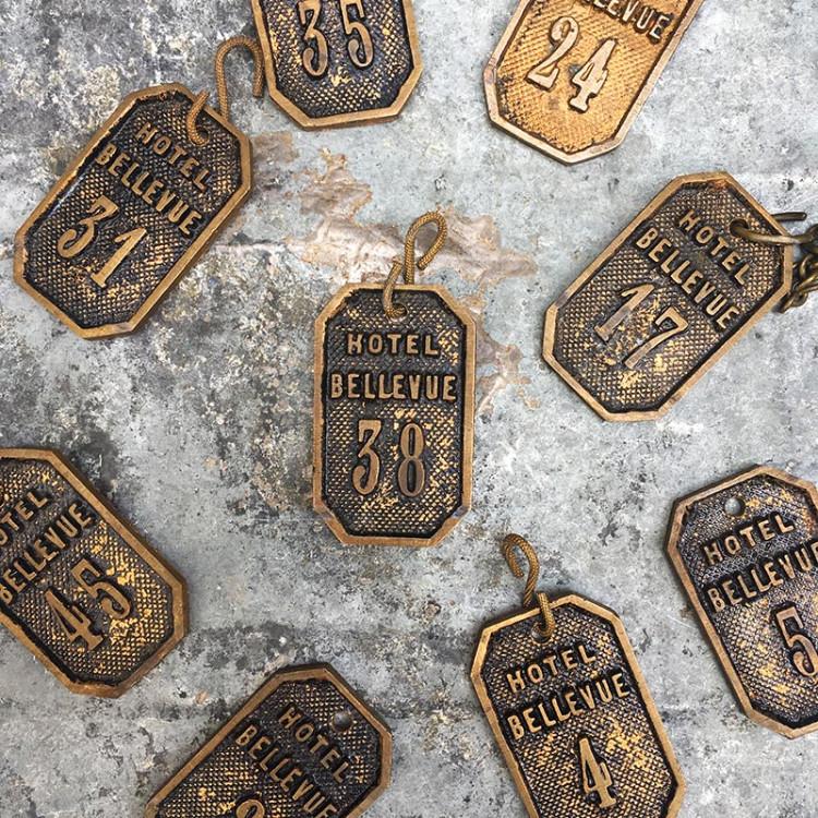 hotel bellevue keychain bronze antique vintage 1950 france decor