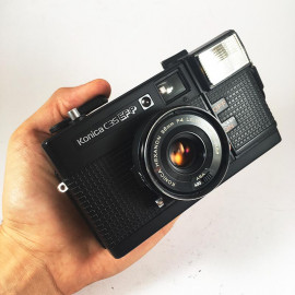 konica c35 efp black 38mm 4 compact point and shoot vintage flash analog camera