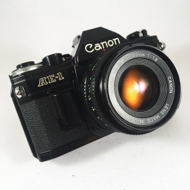 canon ae1 ae-1 reflex analog 50mm 1.8 35mm 135 black vintage camera
