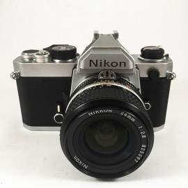 nikon fm reflex analog 24mm 2.8 nikkor 2 135 35mm wide angle vintage film camera