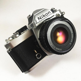 nikon fm chrome reflex analog 50mm nikon lens series e 1.8 135 35mm