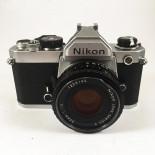 nikon fm chrome argentique reflex 50mm nikon lens series e 1.8 135 35mm film