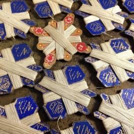 carte de fil de lin extra blanc bleu vintage mercerie ancienne 1950