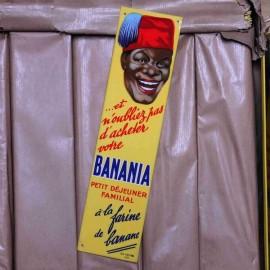 banania plaque metal metallic vintage antique old 1949 1950 yellow grocery