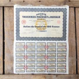 action ancien tavernes pousset et royale ancienne vintage  imprimerie 1931