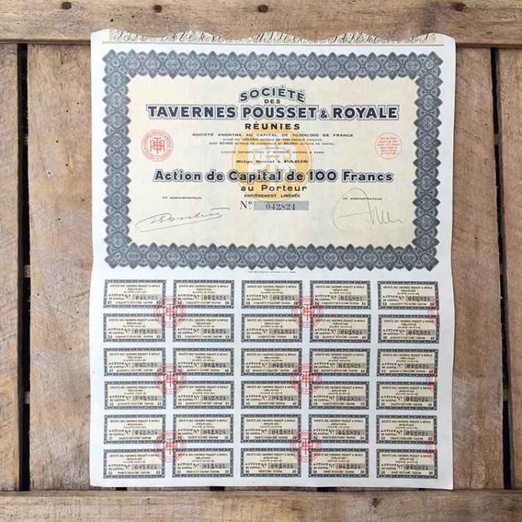 tavernes pousset royale restaurant 1930 stock option antique vintage paper printing factory 1931
