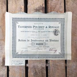 action ancien tavernes pousset et royale ancienne vintage  imprimerie 1912 1910