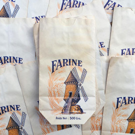 paper bag windmill illustration 500grs mill flour vintage old 1960